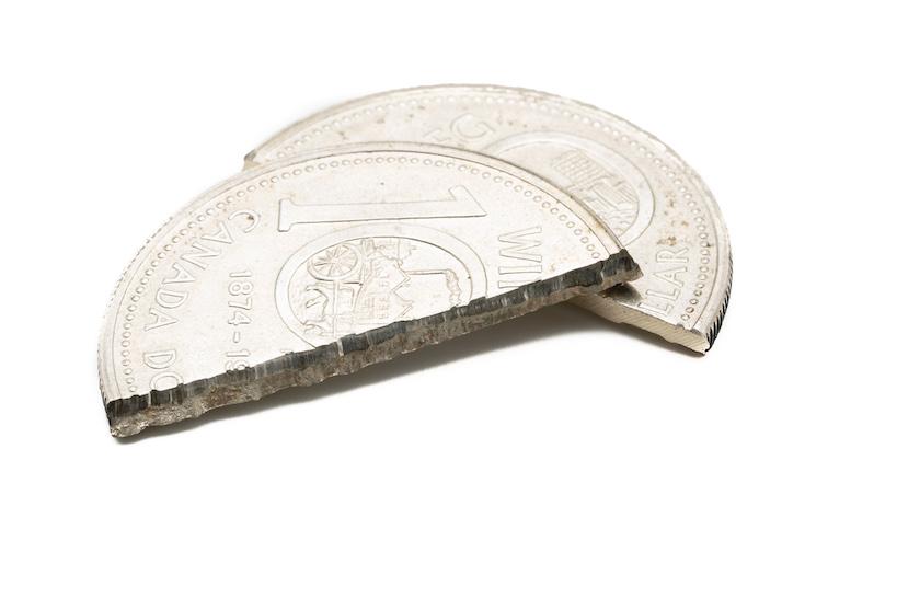 Silbermünze mit einem Kern